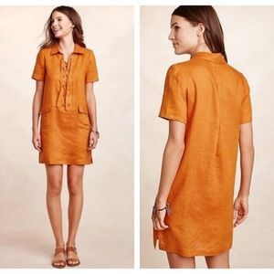 Maeve Anthropologie linen dress w/ laceup detail 2